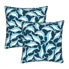 Blue Dolphins Decorative Throw Pillow Covers Square Pillowcases Cushion Covers for Couch Sofa Bedroom Set of 2 , can be used in holiday home