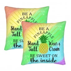 Bling Pineapple Decorative Throw Pillow Covers Square Pillowcases Cushion Covers for Couch Sofa Bedroom Set of 2 , can be used in recreational vehicle