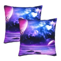 StarRevolution Galaxy Space Decorative Throw Pillow Covers Square Pillowcases Cushion Covers for Couch Sofa Bedroom Set of 2 , can be used in guest room