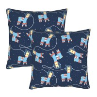 Space Llama Pattern Decorative Throw Pillow Covers Square Pillowcases Cushion Covers for Couch Sofa Bedroom Set of 2 , can be used in recreational vehicle