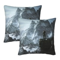 Skyrim Mountain Decorative Throw Pillow Covers Square Pillowcases Cushion Covers for Couch Sofa Bedroom Set of 2 , can be used in children's room