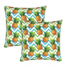 Chevron Tropical Pineapple Decorative Throw Pillow Covers Square Pillowcases Cushion Covers for Couch Sofa Bedroom Set of 2 , can be used in recreational vehicle