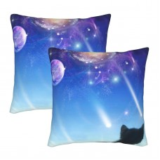 A Kitten On A Window Looks At Space Decorative Throw Pillow Covers Square Pillowcases Cushion Covers for Couch Sofa Bedroom Set of 2 , can be used in children's room