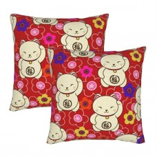 A Lot Of Fortune Cats Decorative Throw Pillow Covers Square Pillowcases Cushion Covers for Couch Sofa Bedroom Set of 2 , can be used in any room-bedroom