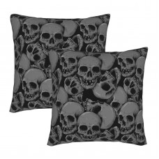 A Lot Of Skulls Decorative Throw Pillow Covers Square Pillowcases Cushion Covers for Couch Sofa Bedroom Set of 2 , can be used in children's room
