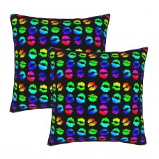 Lipstick Rainbow Decorative Throw Pillow Covers Square Pillowcases Cushion Covers for Couch Sofa Bedroom Set of 2 , can be used in holiday home