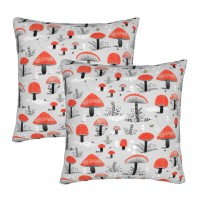 Mushroom Patter Decorative Throw Pillow Covers Square Pillowcases Cushion Covers for Couch Sofa Bedroom Set of 2 , can be used in holiday home