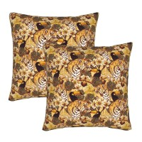 Tropical Exotic Flowers Toucan Tiger Decorative Throw Pillow Covers Square Pillowcases Cushion Covers for Couch Sofa Bedroom Set of 2 , can be used in any room-bedroom